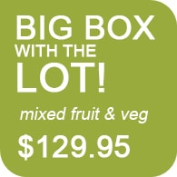 Big Box with the LOT. Mixed Certified Organic Fruit and Veg.